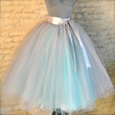 Dove gray and light blue tutu skirt for por TutusChicOriginals