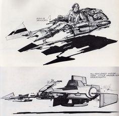 STAR WARS EPISODE VI: RETURN OF THE JEDI Speeder Bike Concept Art by Joe Johnston, Nilo Rodis-Jamero and Ralph McQuarrie   RAR Writes