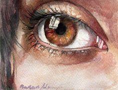 eye (oko), watercolor, barbara adamczyk. 9x12cm