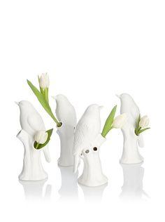 'Set of 4 Porcelain Bird Vases' via Chive