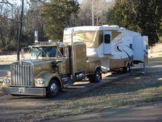 Three Custom Big Rig / Fifth Wheel Combos! Mack Trucks, Peterbilt Trucks, Big Rig Trucks, Toy Trucks, Semi Trucks, Custom Peterbilt, Peterbilt 389, Custom Pickup Trucks, Fifth Wheel Campers