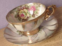 Antique Japanese tea cup set lustreware tea cup by ShoponSherman, $49.00
