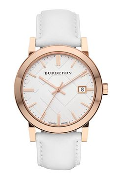 Burberry Check Stamped Round Dial Watch, 38mm | Nordstrom