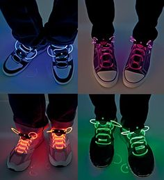 LED Shoelaces, Shoelaces With Lights - HearthSong - great incentive to learn to tie shoes