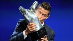 Cristiano Ronaldo was named the Best Player in Europe by UEFA on Thursday in Monaco, beating out club teammate Gareth Bale and city rival Antoine Griezmann in the process.