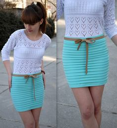 Mint skirt ;) (by Hannnah P.) http://lookbook.nu/look/3165747-mint-skirt