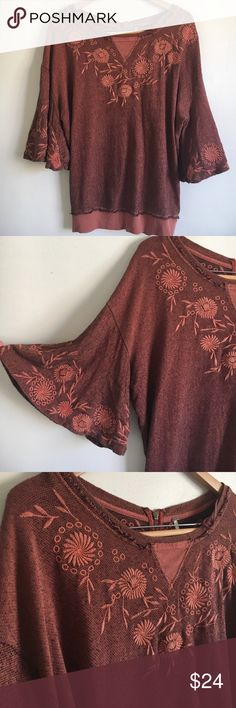 """Free People pumpkin embroidered top 100% cotton sweater top with wide sleeves. Embroidered flower detail. Armpit to armpit 23"""". Length from shoulder length from shoulder 26""""band at bottom 16"""". Free People Sweaters Crew & Scoop Necks"""