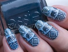 Tribal Elephants stamping nail art using base of Essie:Salt Water Happy, marbled on a few more colors including Sally Hansen: Crush on Blue, China Glaze:New Birth and white polish