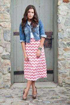 pink chevron skirt