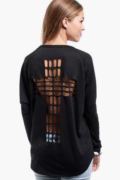 Cross Cutout Sweater $32 at www.tobi.com