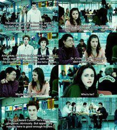 Jessica (Anna Kendrick) gives Bella (Kristen Stewart) the scoop on the Cullen clan in Twilight. Twilight Scenes, Twilight Saga Quotes, Twilight Saga Series, Twilight Book, Twilight Edward, Twilight New Moon, Twilight First Movie, Twilight Jacob, Twilight 2008
