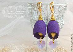 Купить Серьги из коконов шелкопряда фиолетовые - фиолетовый, серьги, серьги ручной работы, кокон