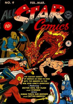 A Golden Age guignol, thanks to Alex Schomburg, Hal Sherman, Sheldon Moldoff and Jack Burnley #AlexSchomburg #HalSherman #SheldonMoldoff #JAckBurnley  #AllStarComics #JusticeSociety #JSA #AllStarSquadron #Invaders #TheInvaders ##AllWinnersSquad #DoctorFate #HumanTorch #Namor #SubMariner #CaptainAmerica #Starman #TheFlash #Flash