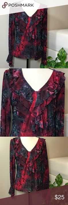 Black & Red Long Sleeve Ruffled V-neck Blouse Beautiful V-neck, ruffles, long sleeves, red and black, size XL blouse from Dress Barn.   Measures 21 inches across from armpit to armpit and 24 inches from neck to bottom hem in back. Dress Barn Tops Blouses