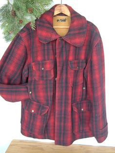 e4307e81bea Vintage Woolrich Buffalo plaid Jacket Mens Sz 46 fieldcoat hunting Mackinaw   Woolrich  BasicCoat Plaid