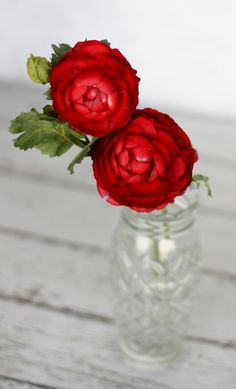 """*** Red Ranunculus Silk Flower - very red- but only 2"""""""