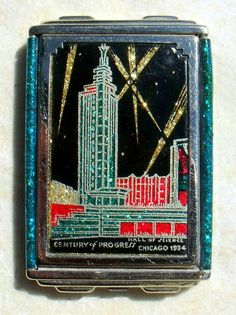 RARE 1934 Chicago World's Fair Compact by Girey in Camera Style CENTURY of PROGRESS-HALL OF SCIENCE POWDER & ROUGE | eBay