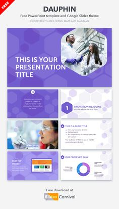 If you need to prepare a presentation related to scientific or technological topics, take a look at this free template. Its professional design with hexagonal shapes will attract your audience's attention right away.