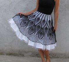 Unique Tutu crochet Skirt Black and white
