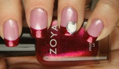 valentine nails french tip   French manicure with a pink base, red tips, and a white heart outlined ...