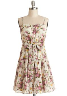 Tip Topiary Shape Dress - Woven, Short, Multi, Floral, Belted, Casual, A-line, Spaghetti Straps
