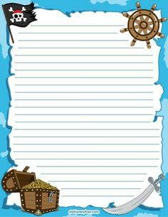 Free Printable Stationery and Writing Paper Pirate Day, Pirate Birthday, Pirate Theme, Printable Lined Paper, Free Printable Stationery, Teach Like A Pirate, Pirate Crafts, Stationary Set, Paper Frames