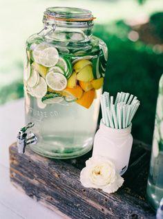Citrus water: http://www.stylemepretty.com/virginia-weddings/2015/07/03/romantic-vintage-inspired-keswick-vineyard-wedding/ | Photography: Nikki Santerre - http://nikkisanterre.com/