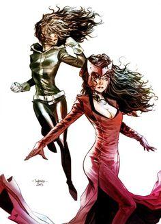 Rogue and Scarlett Witch by Marcio Takara