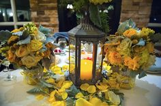 #Traditions at the links #sweetheart #table #yellows #lantern #fresh #flowers