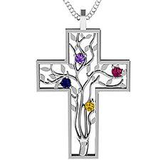 3 - 10 Stone Family Tree Cross Pendant #jewlr