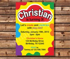 AJP125 Play Doh Inspired Invitation - Play Dough - Birthday - Invite - Style A2