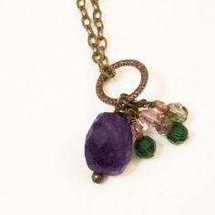 Purple Amethyst Cluster Necklace Violet Amethyst by pink80sgirl, $34.00