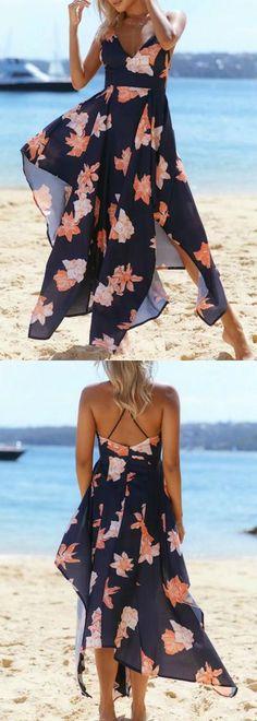 Vestido Mullet Longo Floral Com Alça Finas | UFashionShop