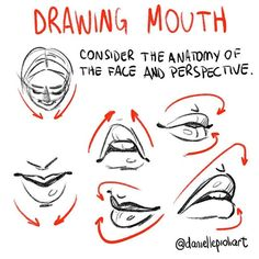 Quick Tip Monday - The elements of the face must respect the anatomy and perspective of the head. In this case, the mouth. Since I drew a whole lot of mouth this past week  Check out the challenge whole: behance.net/daniellepioli