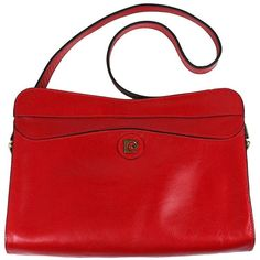 Preowned Pierre Cardin Red Leather Logo Bag ($350) ❤ liked on Polyvore featuring bags, handbags, shoulder bags, red, leather purses, red leather handbags, real leather purses, red leather purse and leather handbags