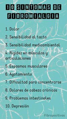 10 síntomas comunes de fibromialgia.