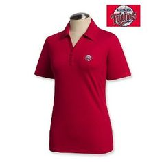 Minnesota Twins Women's DryTec Championship Polo by Cutter & Buck - Red 3X Large by Cutter & Buck. $54.99. 57% Cotton, 38% Polyester, 5% Spandex  Moisture-wicking finish  Self fabric collar and side vents  C pennant embroidered on back half moon  Machine Washable