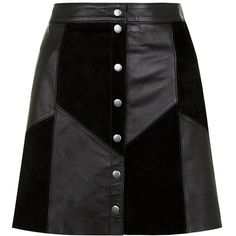 Suede skirts are a must have wardrobe piece this season - try this leather popper button front skirt for a retro take on the style.- Popper button front fastening- Real suede- Casual fit- Mini length- Patchwork design- Model is and wears UK 6 Real Leather Skirt, Black Leather Mini Skirt, Suede Mini Skirt, Black Suede, Button Front Skirt, Mode Style, Clothes, Retro Skirts, Patchwork Skirts