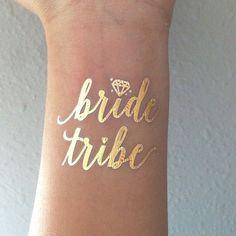 Gold Metallic Flash Bachelorette Tattoos Bride di GoldTinselShop
