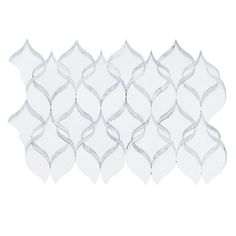 White Thassos & Carrara Marble Ribbon Waterjet Mosaic Tile 14x17""