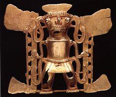 Gold Pendant of a Shaman - FJ.6152  Origin: Costa Rican/Panamanian Border Area  Circa: 500 AD to 1550 AD