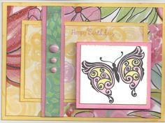 Close to My  Heart: Products - Brushed paper pack, Stamp: Your Own Kind Of Wonderful for butterflies and sentiment.