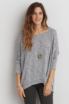 AEO Feather Light Petal Back Sweater  by AEO | Fall in love with a new layer, with a petal back detail for the perfect ending.  Shop the AEO Feather Light Petal Back Sweater  and check out more at AE.com.