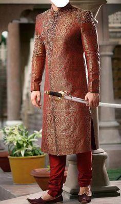 Angrakha Style Maroon Sherwani for Men
