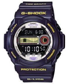 G-Shock Men's Digital Tide Graph Purple Resin Strap Watch 52x55mm GLX150B-6