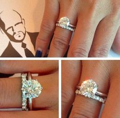 2 ct diamond, solitaire, 2 mm band, paired with eternity wedding band. Love love love