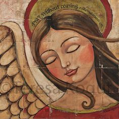 Pray 12x12 print on wood by Teresa Kogut