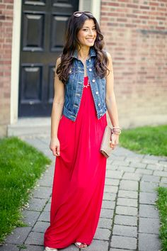 maxi dress and denim vest