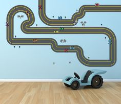 Wonder if this removable vinyl race car track would work on the floor? #KidsStuffWorld