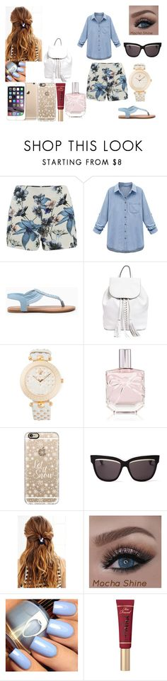 """azul"" by nelssy-escalante-machacon on Polyvore featuring moda, ONLY, WithChic, Rebecca Minkoff, Versace, Victoria's Secret, Casetify, Christian Dior y Too Faced Cosmetics"